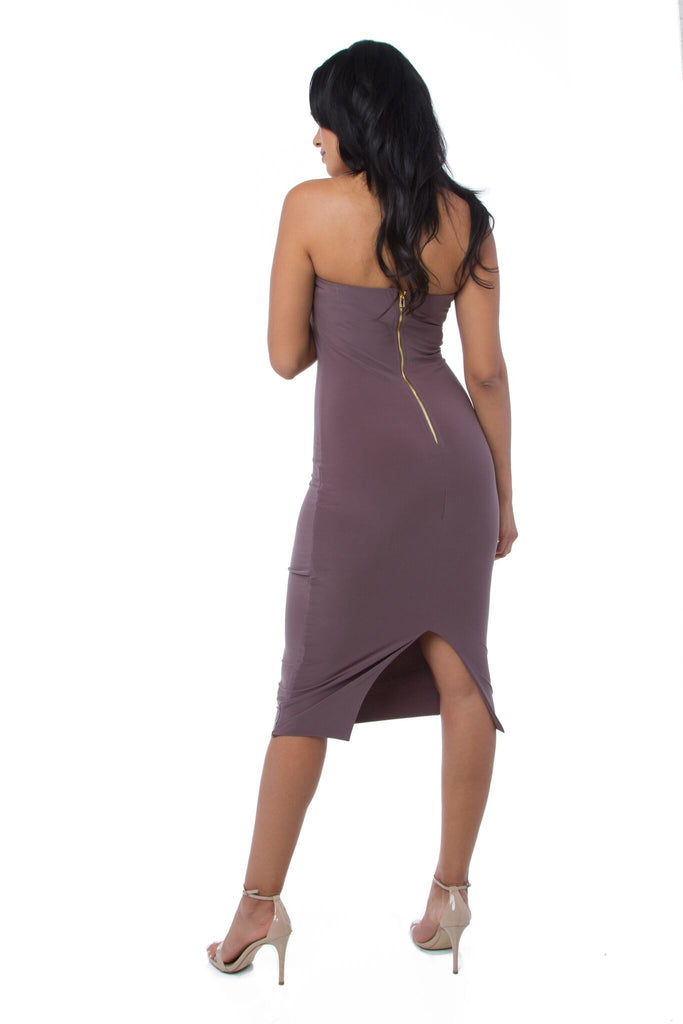 THE MYSTYLEMODE MOCHA DOUBLE LINED STRAPLESS ZIPPER BACK MIDI DRESS