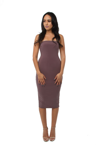 THE MYSTYLEMODE TAUPE KNIT RIBBED OFF THE SHOULDER MIDI DRESS