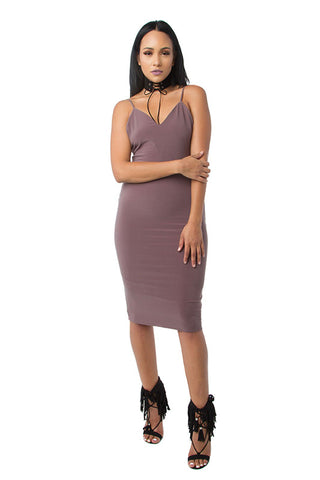 THE MYSTYLEMODE RUST KNIT RIBBED OFF THE SHOULDER MIDI DRESS