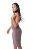 THE MYSTYLEMODE MOCHA V NECK LOW BACK DOUBLE LINED ESSENTIAL MIDI DRESS