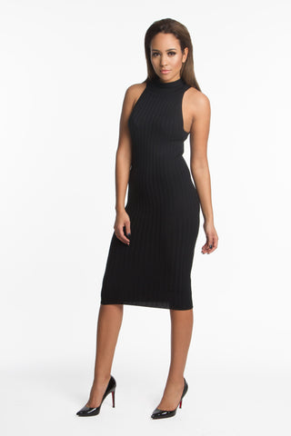THE MYSTYLEMODE BLACK BANDAGE SIDE SLIT MIDI DRESS