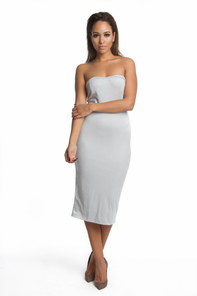 THE MYSTYLEMODE GRAY DOUBLE LINED SUEDE SWEETHART MIDI DRESS