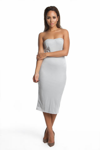 FINAL SALE-THE MYSTYLEMODE LIGHT GRAY SUEDE DOUBLE LINED OFF THE SHOULDER MIDI DRESS