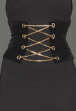 THE MYSTYLEMODE BLACK CHAINED VELVET CORSET BUSTIER BELT