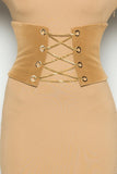 THE MYSTYLEMODE CAMEL CHAINED VELVET CORSET BUSTIER BELT