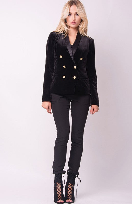 THE MYSTYLEMODE BLACK VELVET TUXEDO CROPPED JACKET