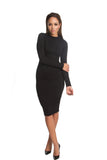 THE MYSTYLEMODE BLACK DOUBLE LINED LONG SLEEVE FUNNEL NECK MIDI DRESS