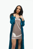 THE MYSTYLEMODE TEAL ESSENTIAL SATIN TRENCH