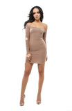 FINAL SALE-THE MYSTYLEMODE NUDE DOUBLE LINED OFF THE SHOULDER ELBOW CUT OUT MINI DRESS