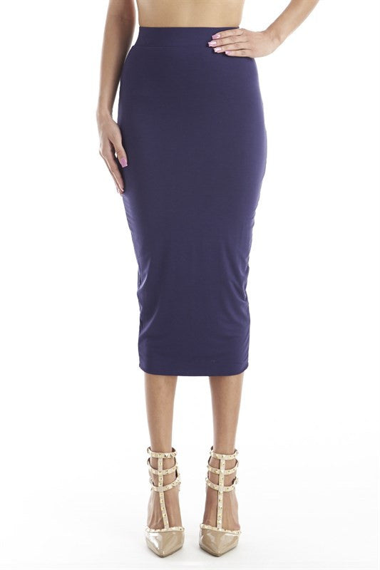 FINAL SALE-THE MYSTYLEMODE NAVY DOUBLE LINED STRETCH HIGH WAISTED MIDI SKIRT