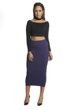 THE MYSTYLEMODE NAVY DOUBLE LINED STRETCH HIGH WAISTED MIDI SKIRT