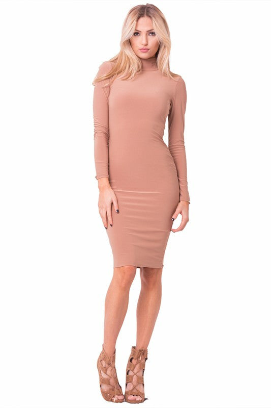 1fe9d0d185 the mystylemode nude essential double lined mock neck midi dress