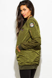 OLIVE GREEN MILITARY POCKETED PATCH EMBROIDERED PUFF BOMBER COAT JACKET
