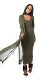 THE MYSTYLEMODE OLIVE LIGHTWEIGHT CHIFFON TRENCH
