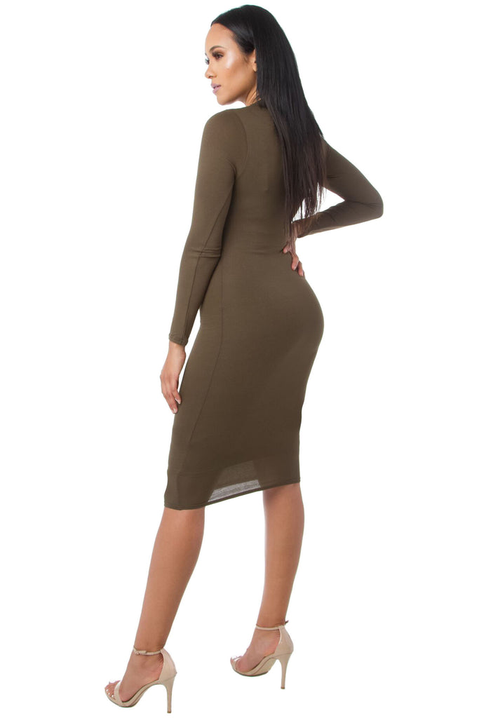 THE MYSTYLEMODE OLIVE DOUBLE LINED LONG SLEEVE FUNNEL NECK MIDI DRESS