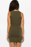 OLIVE GREEN RIBBED KNIT LACEUP SLEEVELESS SWEATER MINI DRESS