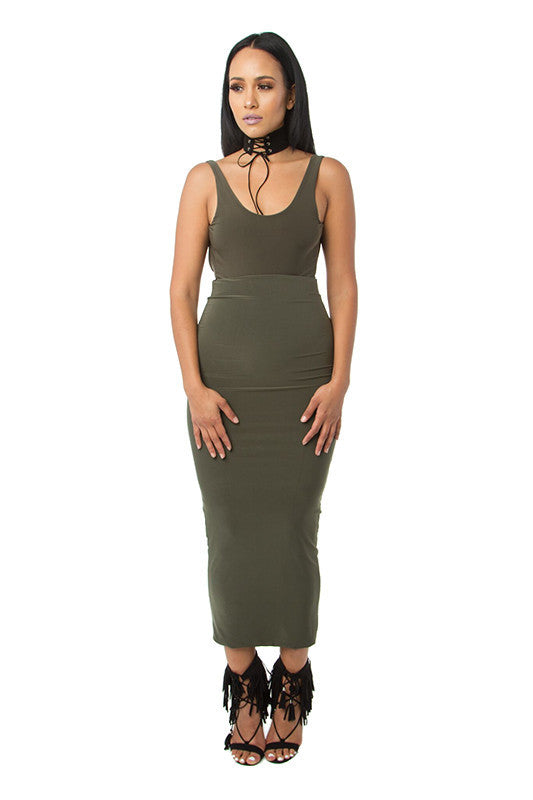 THE MYSTYLEMODE OLIVE ESSENTIAL VENEZIA DOUBLE LINED MAXI MIDI SKIRT