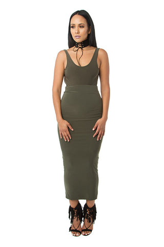 THE MYSTYLEMODE OLIVE DOUBLE LINED STRETCH HIGH WAISTED MIDI SKIRT