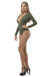 THE MYSTYLEMODE OLIVE PLUNGING V NECK DOUBLE LINED ESSENTIAL BODYSUIT
