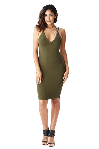 THE MYSTYLEMODE NUDE SUEDE DOUBLE LINED ZIPPER BACK MIDI DRESS