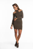THE MYSTYLEMODE OLIVE DOUBLE LINED FRONT AND BACK T NECK MINI DRESS