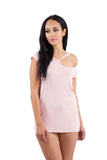 BLUSH PINK RIPPED CUT OUT NECKLINE BOYFRIEND TEE TUNIC