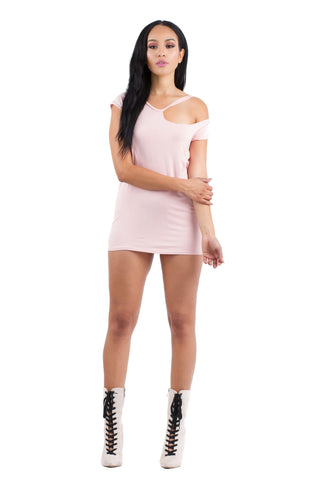 THE MYSTYLEMODE BLUSH MESH TANK BODYSUIT