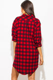 THE MYSTYLEMODE RED AND BLACK POCKETED FLANNEL TUNIC DRESS