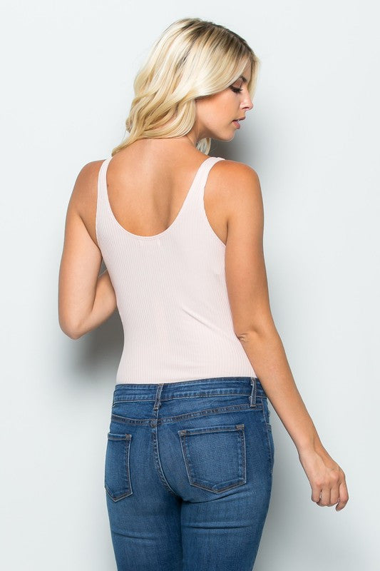 THE MYSTYLEMODE LIGHT PINK RIBBED PLUNGING V NECK SLEEVELESS BODYSUIT