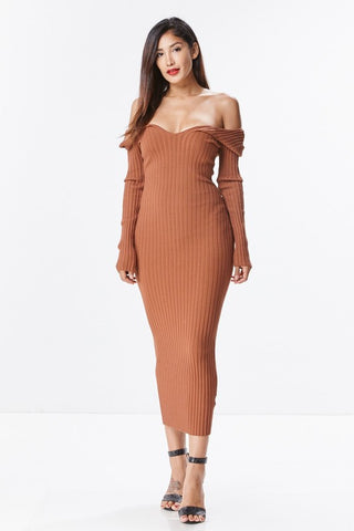 THE MYSTYLEMODE TAUPE KNIT RIBBED TANK MIDI DRESS