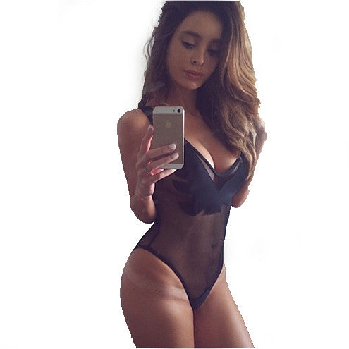 BLACK STYLISH ONE PIECE SEXY MESH PATCHWORK BACKLESS SWIMSUIT