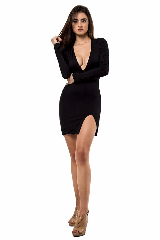 THE MYSTYLEMODE BLACK DOUBLE LINED DEEP V NECK SLIT DRESS