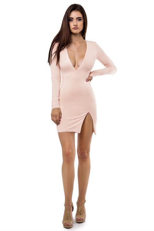 THE MYSTYLEMODE BLUSH DOUBLE LINED DEEP V NECK SLIT DRESS