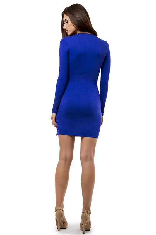THE MYSTYLEMODE ROYAL BLUE DOUBLE LINED DEEP V NECK SLIT DRESS
