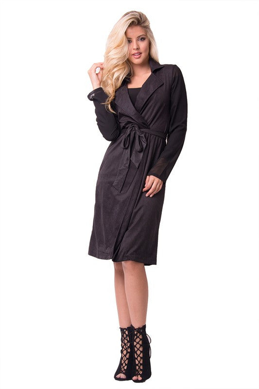 THE MYSTYLEMODE BLACK SUEDE CHIFFON SLEEVED TRENCH