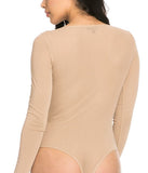 THE MYSTYLEMODE TAUPE MESH ROUND NECK BODYSUIT