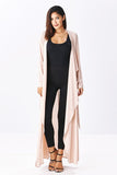 THE MYSTYLEMODE LIGHT TAUPE OPEN CASCADING COLLAR TRENCH