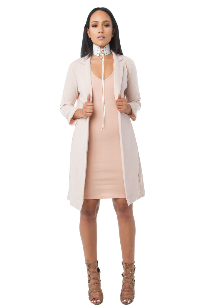 THE MYSTYLEMODE TAUPE SIDE ZIPPER DETAIL LONGLINE BLAZER