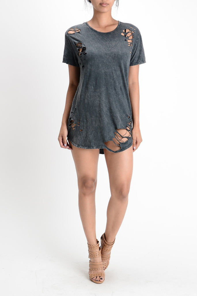 CHARCOAL MINERAL WASHED DESTROYED TUNIC DRESS