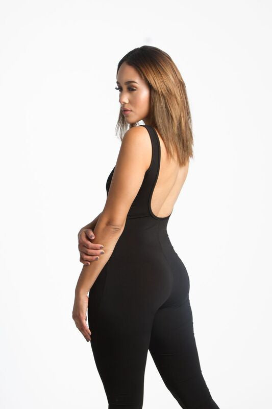THE MYSTYLEMODE BLACK U BACK JUMPSUIT