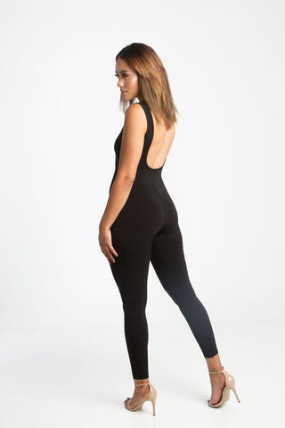 THE MYSTYLEMODE BLACK U CUT OUT MESH RACERBACK BODYSUIT
