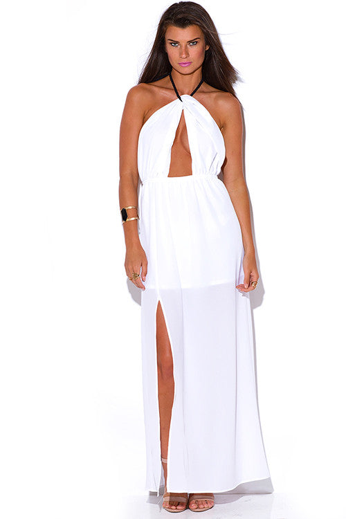 WHITE CUT OUT SLIT ROPE HALTER WRAP NECK BACKLESS EVENING MAXI SUN DRESS