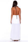 FINAL SALE-WHITE CUT OUT SLIT ROPE HALTER WRAP NECK BACKLESS EVENING MAXI SUN DRESS