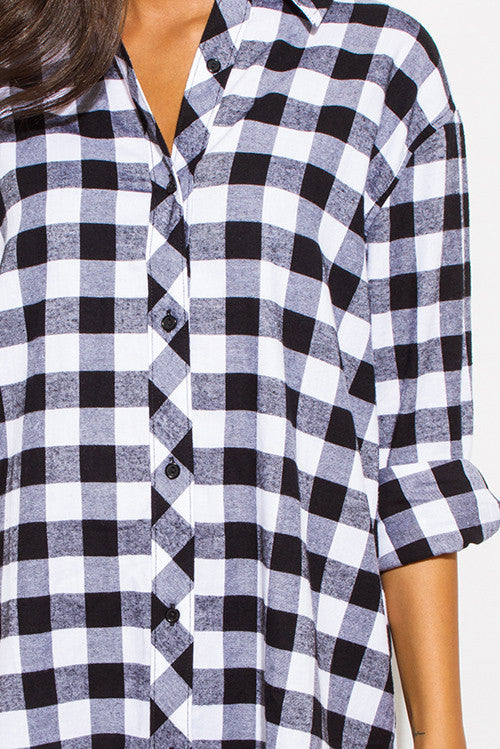 THE MYSTYLEMODE WHITE AND BLACK POCKETED FLANNEL TUNIC DRESS