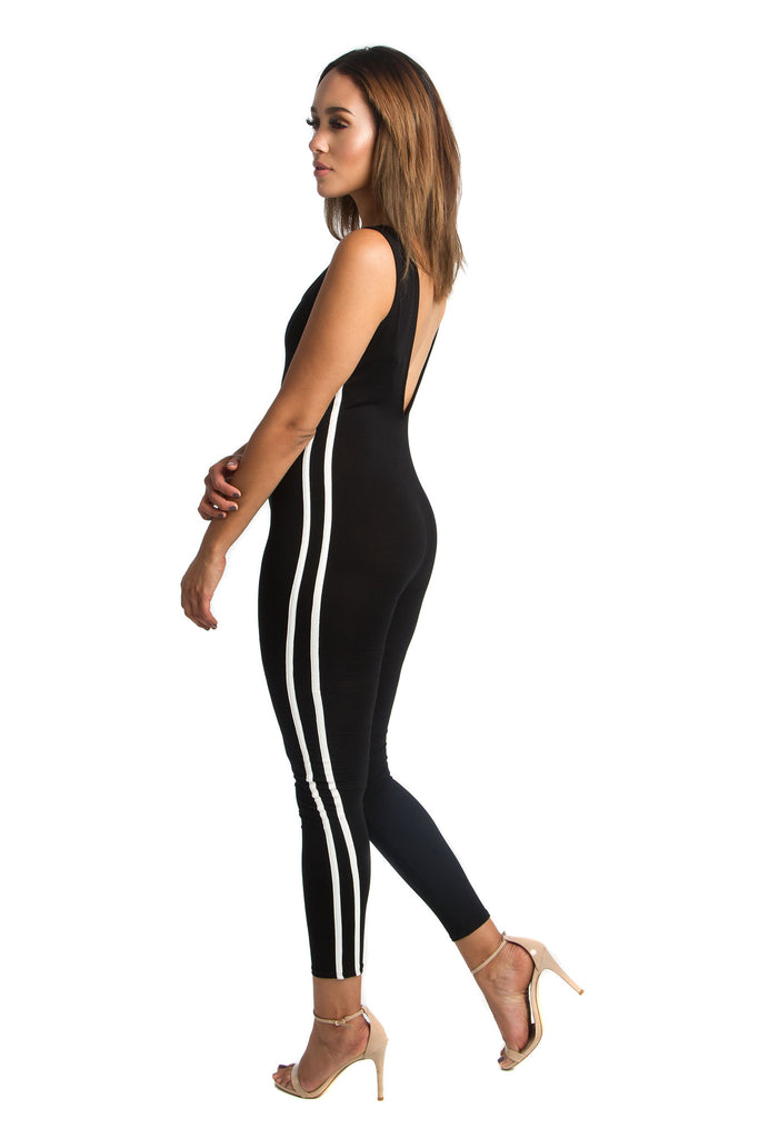 THE MYSTYLEMODE BLACK WITH WHITE STRIPES JUMPSUIT