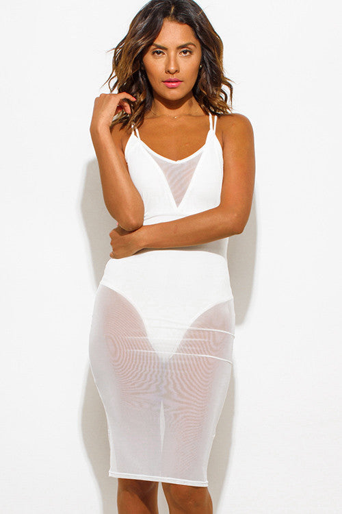 THE MYSTYLEMODE WHITE BODYSUIT CROSS BACK SHEER MESH MIDI DRESS