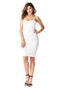 THE MYSTYLEMODE IVORY KNIT RIBBED SPAGHETTI STRAP KNEE LENGTH DRESS