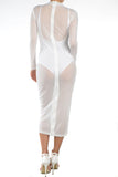 THE MYSTYLEMODE WHITE HIGH NECK ZIPPER BACK MESH DRESS