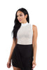 THE MYSTYLEMODE WHITE NETTED MOCK NECK SLEEVELESS BODYSUIT