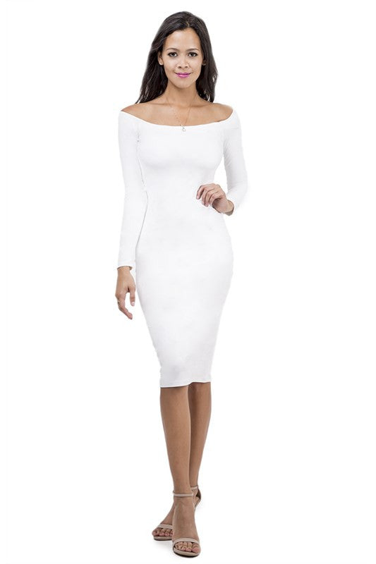 THE MYSTYLEMODE WHITE SUEDE DOUBLE LINED OFF THE SHOULDER MIDI DRESS